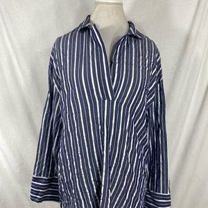 H&M blue white womens striped shirt size small s